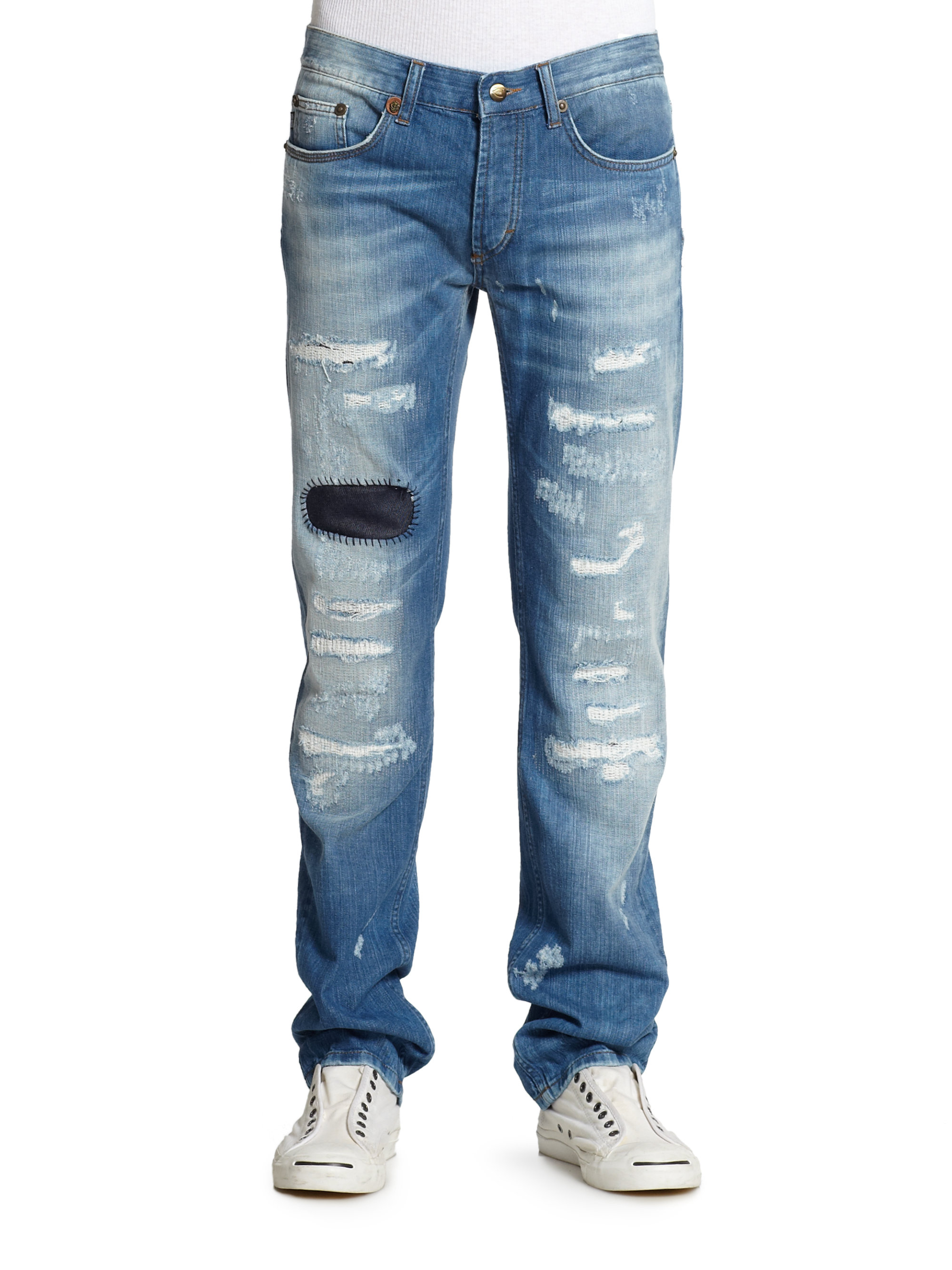 Sale Recommend faded distressed detail jeans - Blue Just Cavalli Clearance Best Seller Nicekicks For Sale Discount 2018 azfh5
