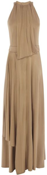 Karen Millen Bronze Jersey Dress - Lyst