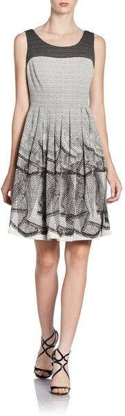 Kay Unger Printed Pleated Dress - Lyst