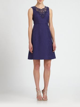 Kay Unger Appliqued Jacquard Aline Dress - Lyst