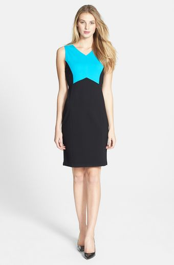 Kenneth Cole Andrea Colorblock Sheath Dress - Lyst
