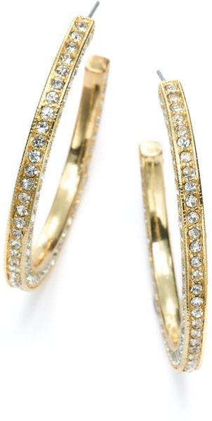 Kenneth Jay Lane Crystal Goldplated Hoop Earrings 2 Inches - Lyst