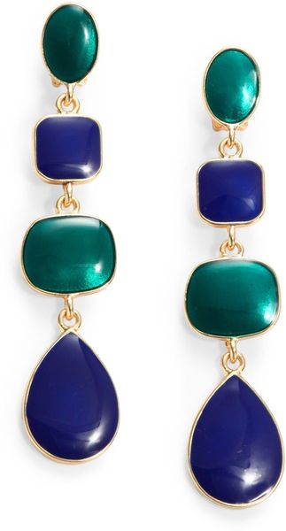 Kenneth Jay Lane Geometric Triple Drop Clipon Earrings - Lyst