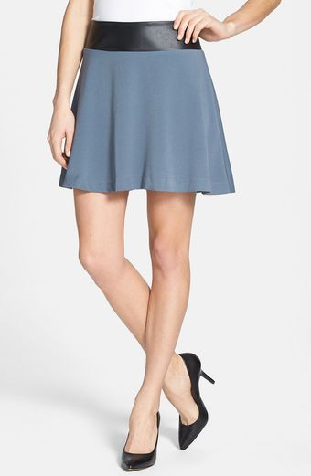 Kensie Faux Leather Waist Twill Skater Skirt - Lyst