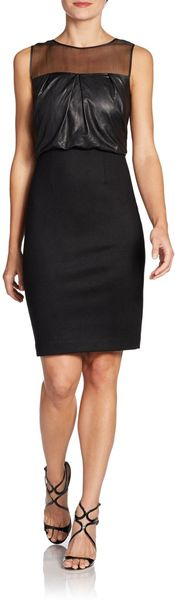 L'Agence Mixed Media Sheath Dress - Lyst