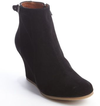 Lanvin Black Suede Side Zip Wedge Heel Booties - Lyst