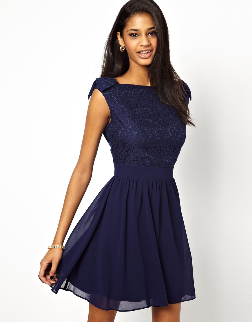 7f414ac3188e5a Lyst - Little Mistress Prom Dress With Lace Bardot Top in Blue