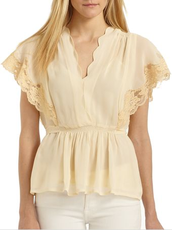 Love Sam Lace Accented Tie Back Blouse - Lyst