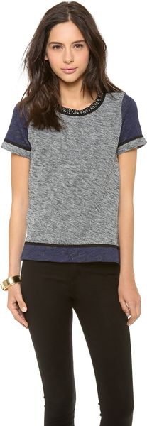 Madewell Colorblock Embellish Neck Sweatshirt Tee - Lyst