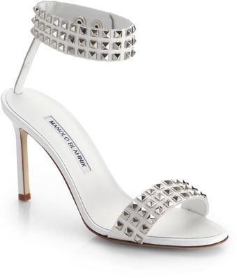 Manolo Blahnik Rocco Studded Leather Sandals - Lyst