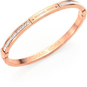 Michael Kors Studded Pave Bangle Braceletrose Goldtone - Lyst