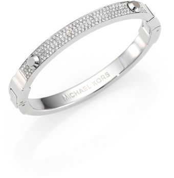 Michael Kors Studded Pave Bangle Braceletsilvertone - Lyst