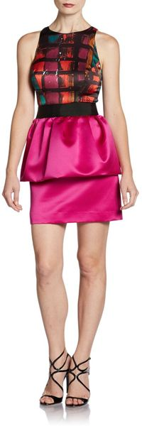 Milly Combo Peplum Dress - Lyst
