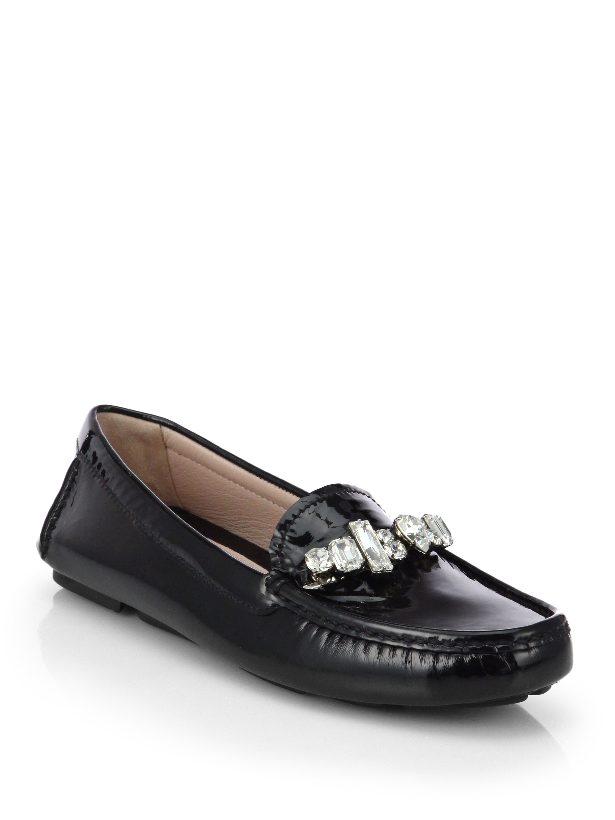 Miu Miu Crystal Patent Leather Loafers Am9T7