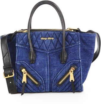 Miu Miu Denim Leather Mini Satchel - Lyst