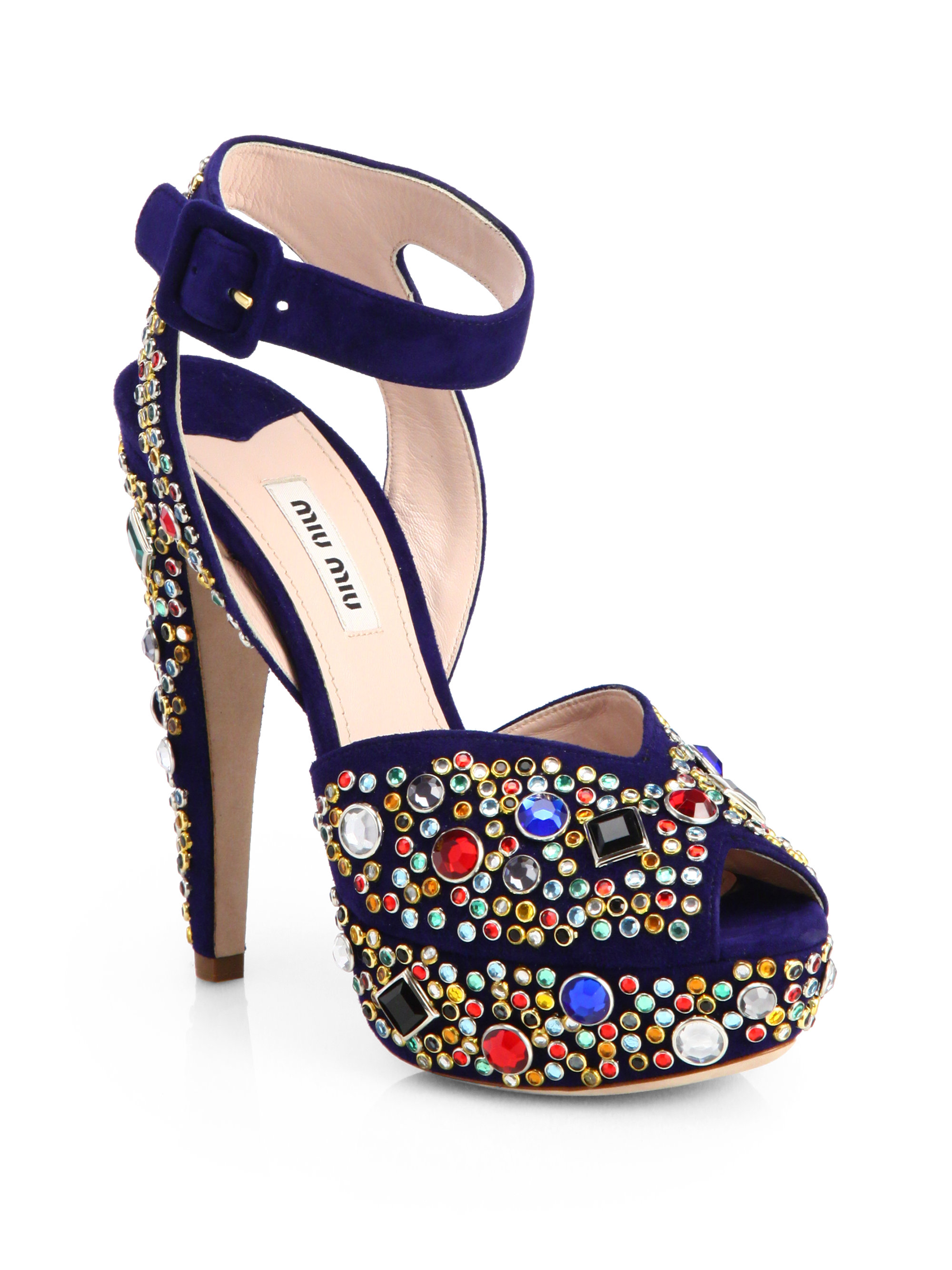 miu miu donna jeweled suede platform sandals in blue navy multi lyst. Black Bedroom Furniture Sets. Home Design Ideas
