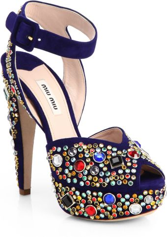 Miu Miu Donna Jeweled Suede Platform Sandals - Lyst