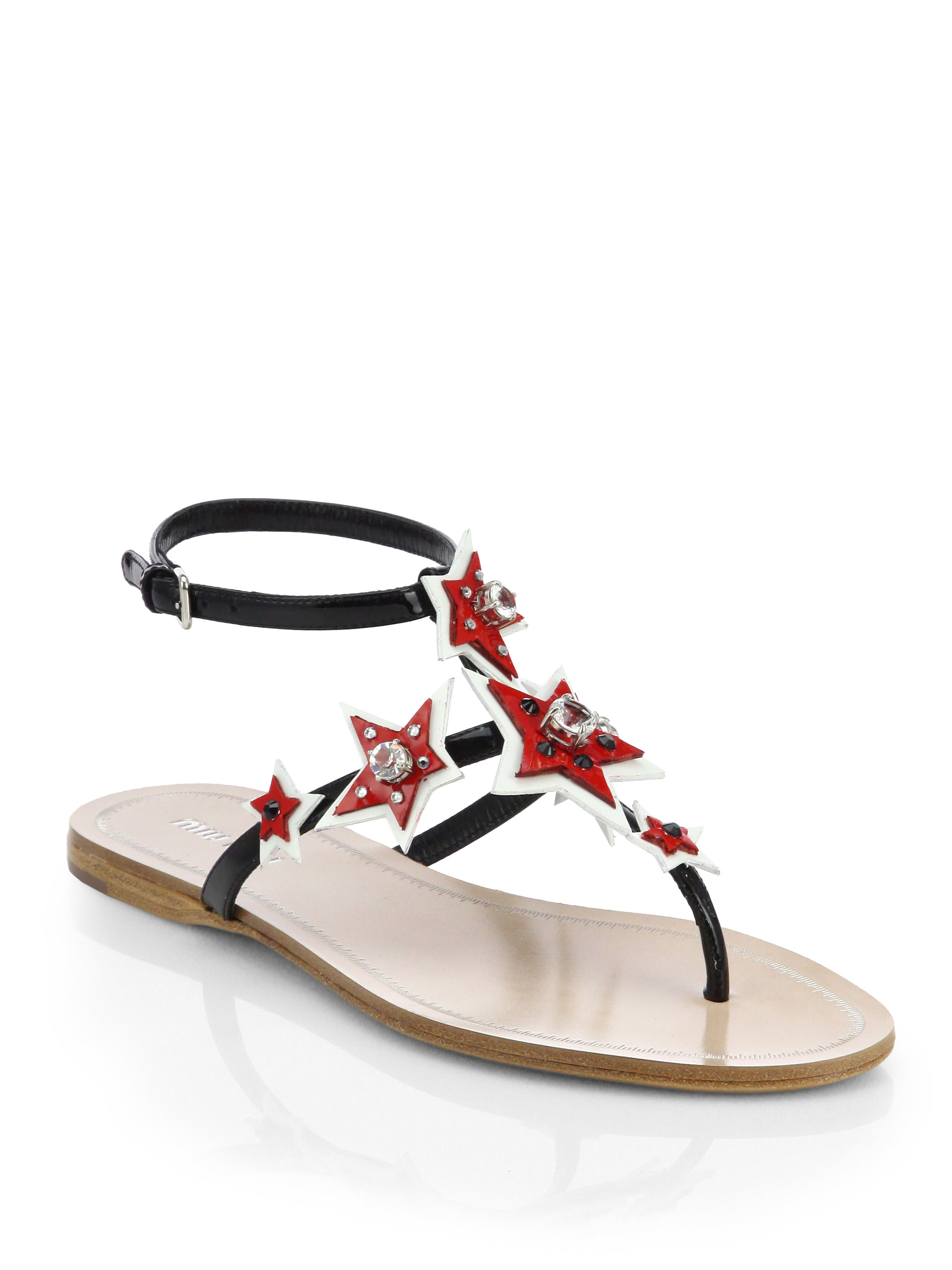 Miu Miu Star Jeweled Patent Leather Thong Sandals In Black