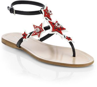 Miu Miu Star Jeweled Patent Leather Thong Sandals - Lyst