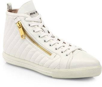 Miu Miu Leather Doublezip Hightop Sneakers - Lyst