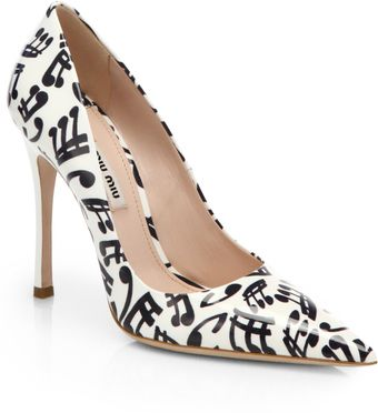 Miu Miu Music Noteprint Patent Leather Pumps - Lyst