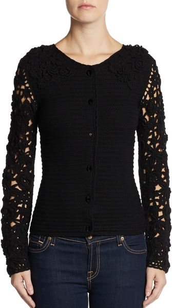 Moschino Cheap & Chic Crocheted Wool Cardigan - Lyst