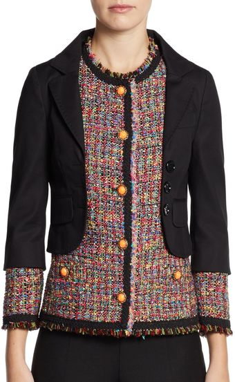 Moschino Cheap & Chic Tweed Overlay Jacket - Lyst
