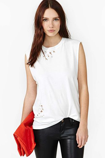 Nasty Gal After Party Vintage Tumble Muscle Tee White - Lyst