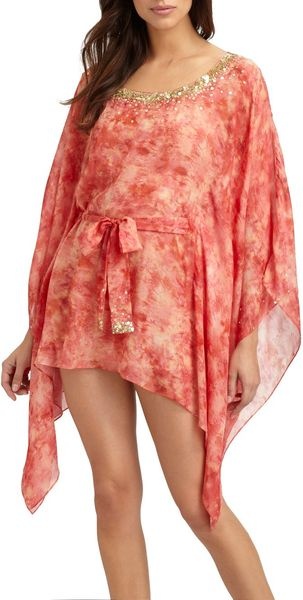 Natori Embroidered Short Silk Caftan - Lyst