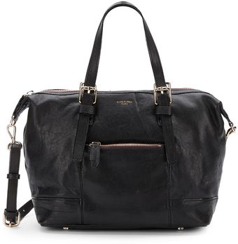 Olivia Harris Top Zip Leather Satchel - Lyst