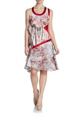 Prabal Gurung Asymmetrical Floral Print Silk Dress - Lyst