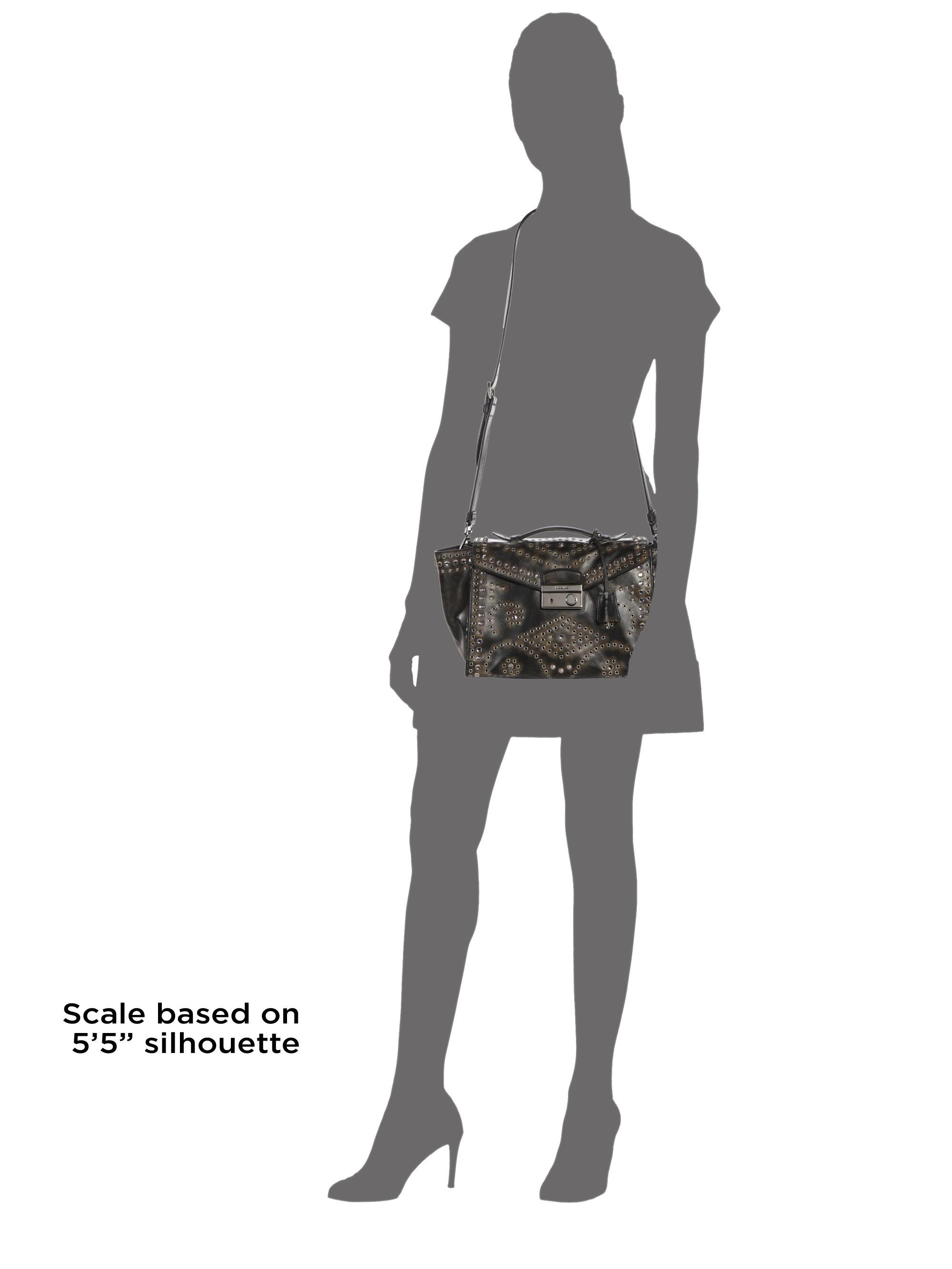 silver prada bag - prada grommet-embellished shoulder bag, prada pink leather bag