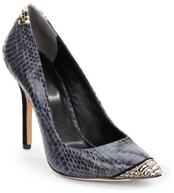 Rachel Roy Aron Snake embossed Suede heeled Pumps - Lyst