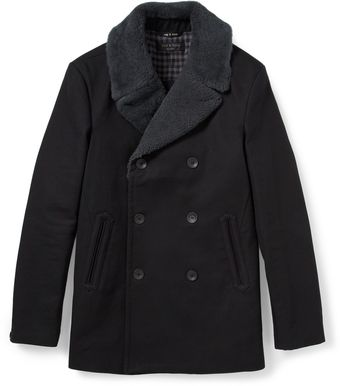 Rag & Bone Hague Shearlingcollar Cottonblend Peacoat - Lyst