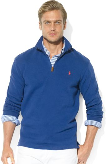 Ralph Lauren Polo French-Rib Half-Zip Mock Neck Pullover - Lyst