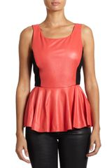 Rebecca Minkoff Marilyn Leather Peplum Tank - Lyst