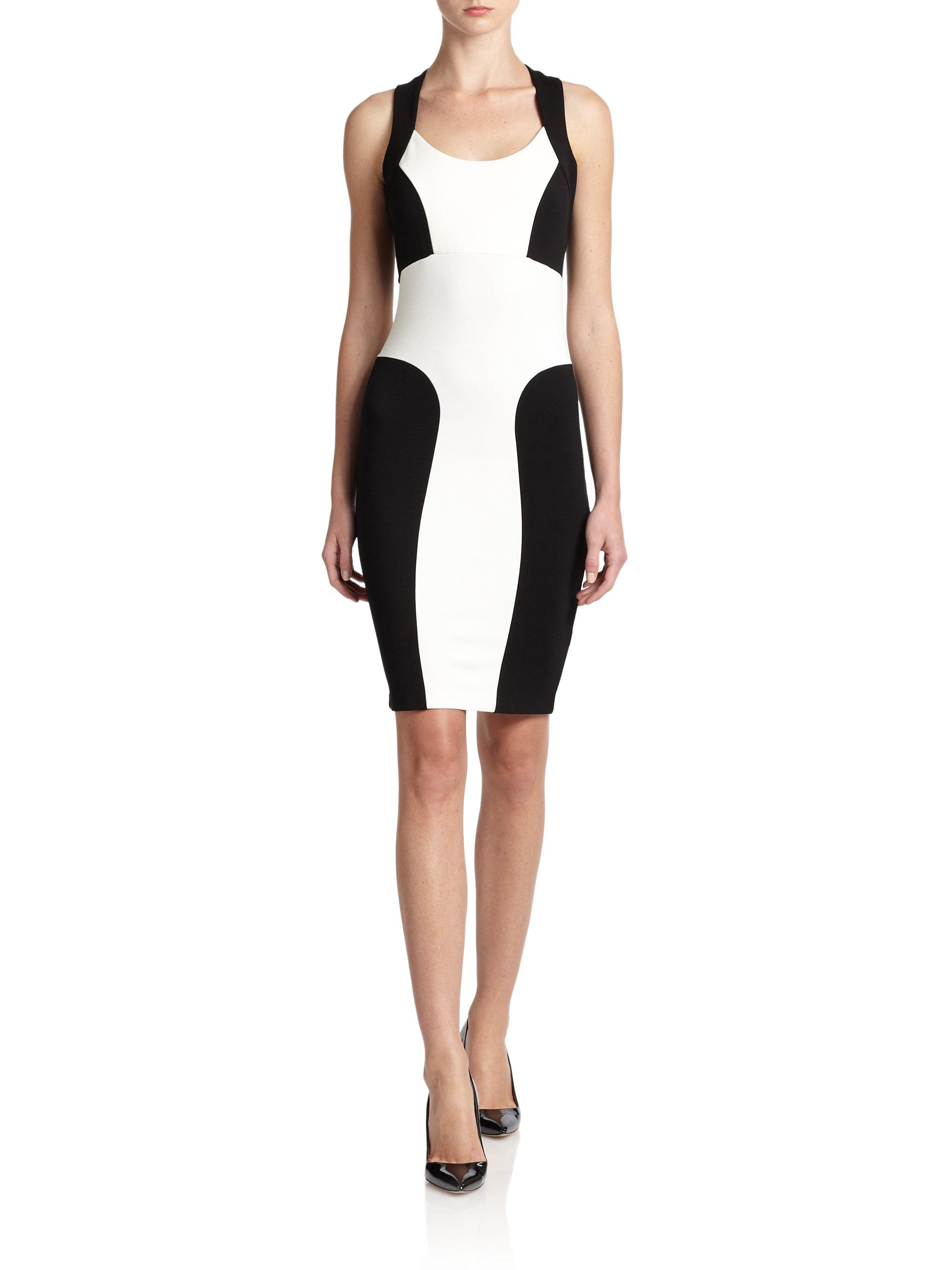 Saks fifth avenue Colorblock Knit Dress in Black  Lyst