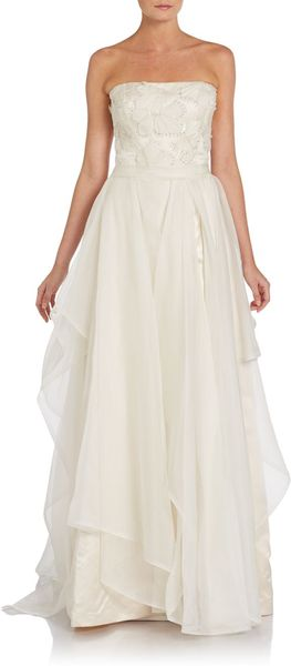 Reem Acra Great Luck Sequined Silk Organza Gown - Lyst