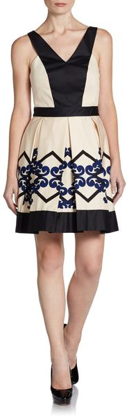 Robert Rodriguez Scroll Diamond Box Pleat Dress - Lyst