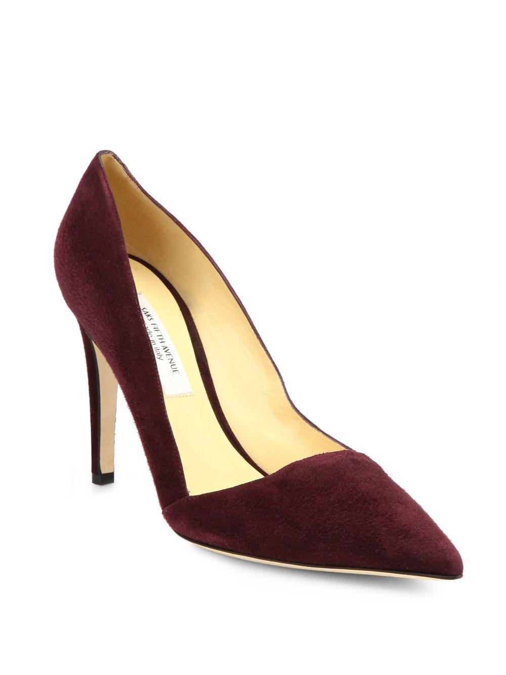 saks fifth avenue erika suede point toe pumps in purple lyst