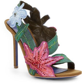 Sergio Rossi Floral Canvas Embellished Sandals - Lyst