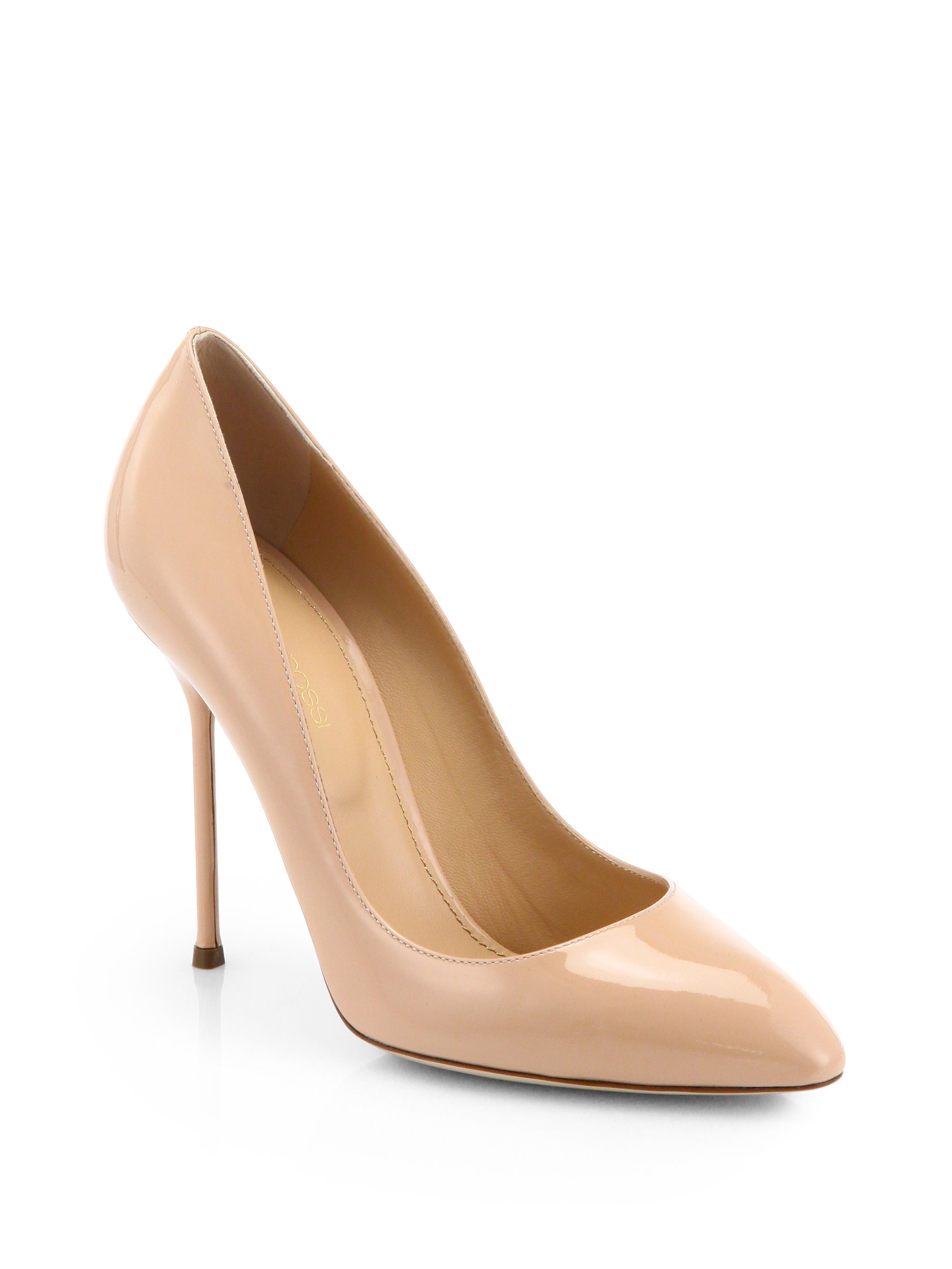 1d78dbfb265 Lyst - Sergio Rossi Chi Chi Patent Leather Pumps in Natural