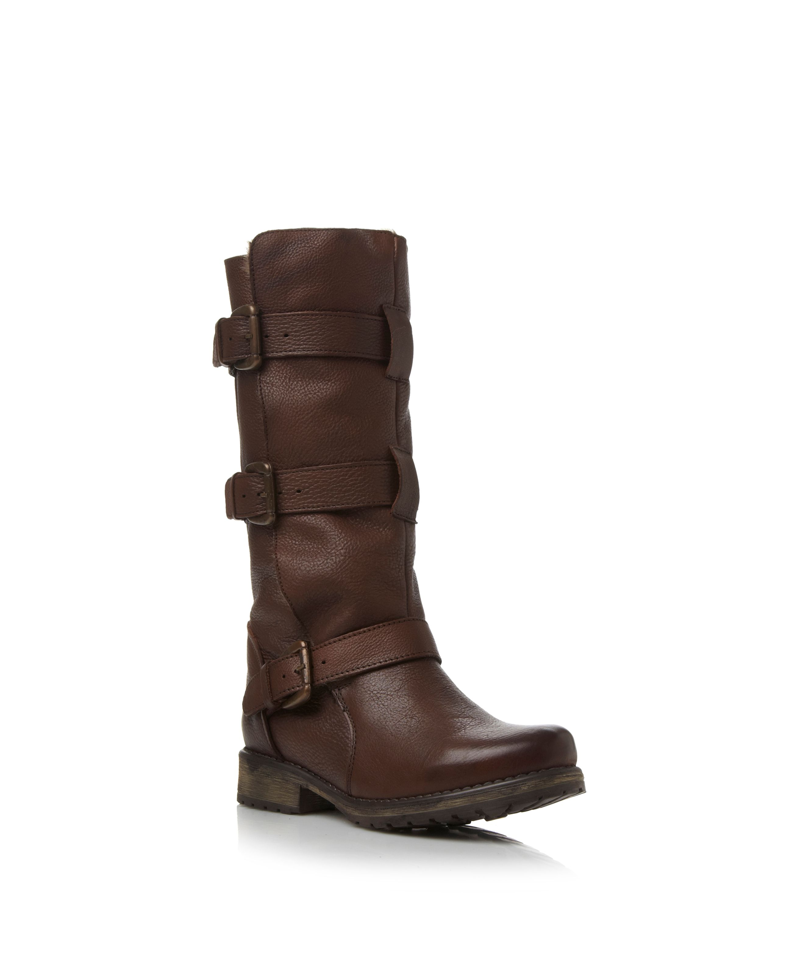 steve madden fur lined buckle detail boots in brown lyst