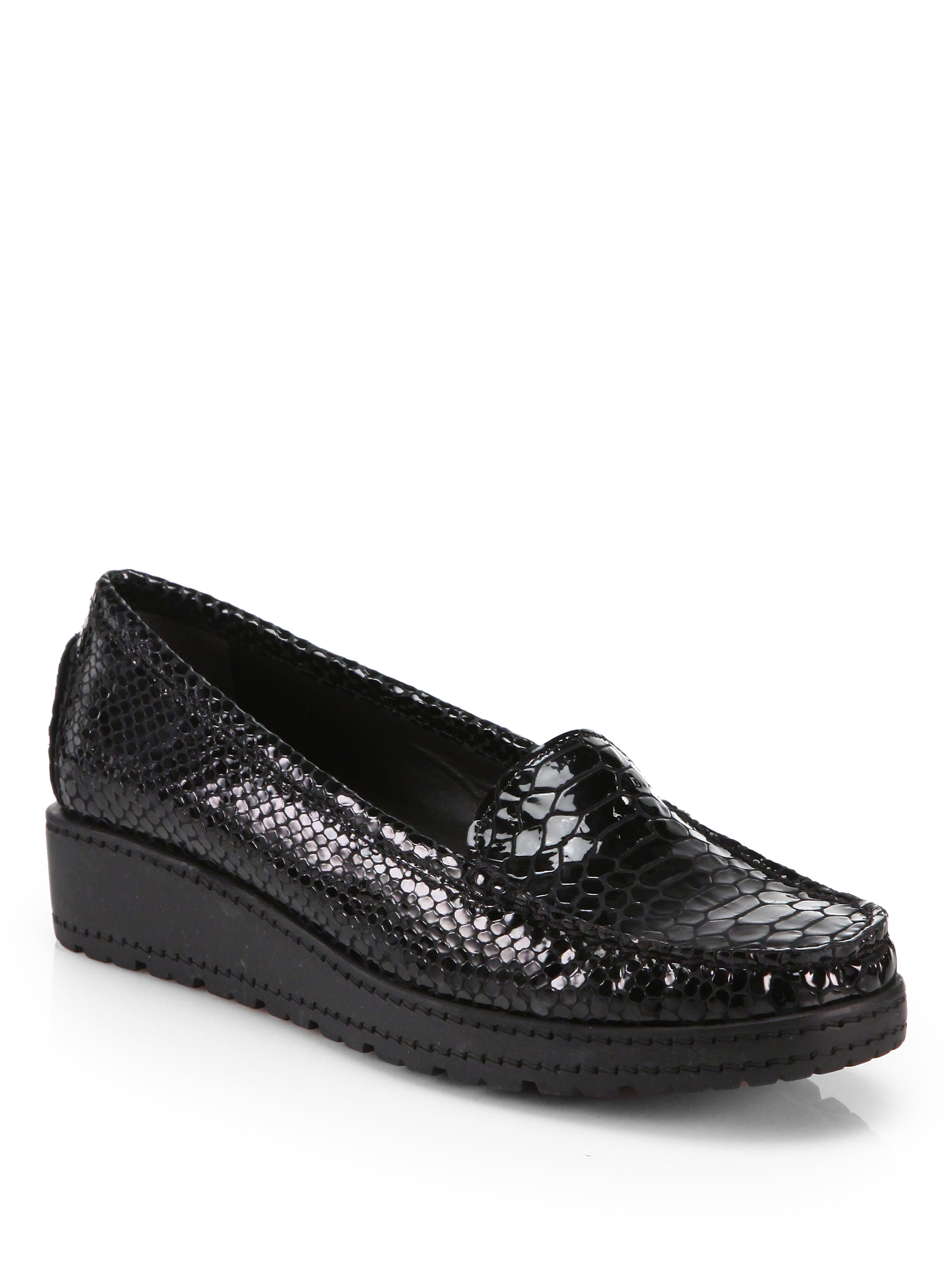 discount cheap price discount fake Stuart Weitzman Embossed Patent Loafers geniue stockist sale online lWRSf
