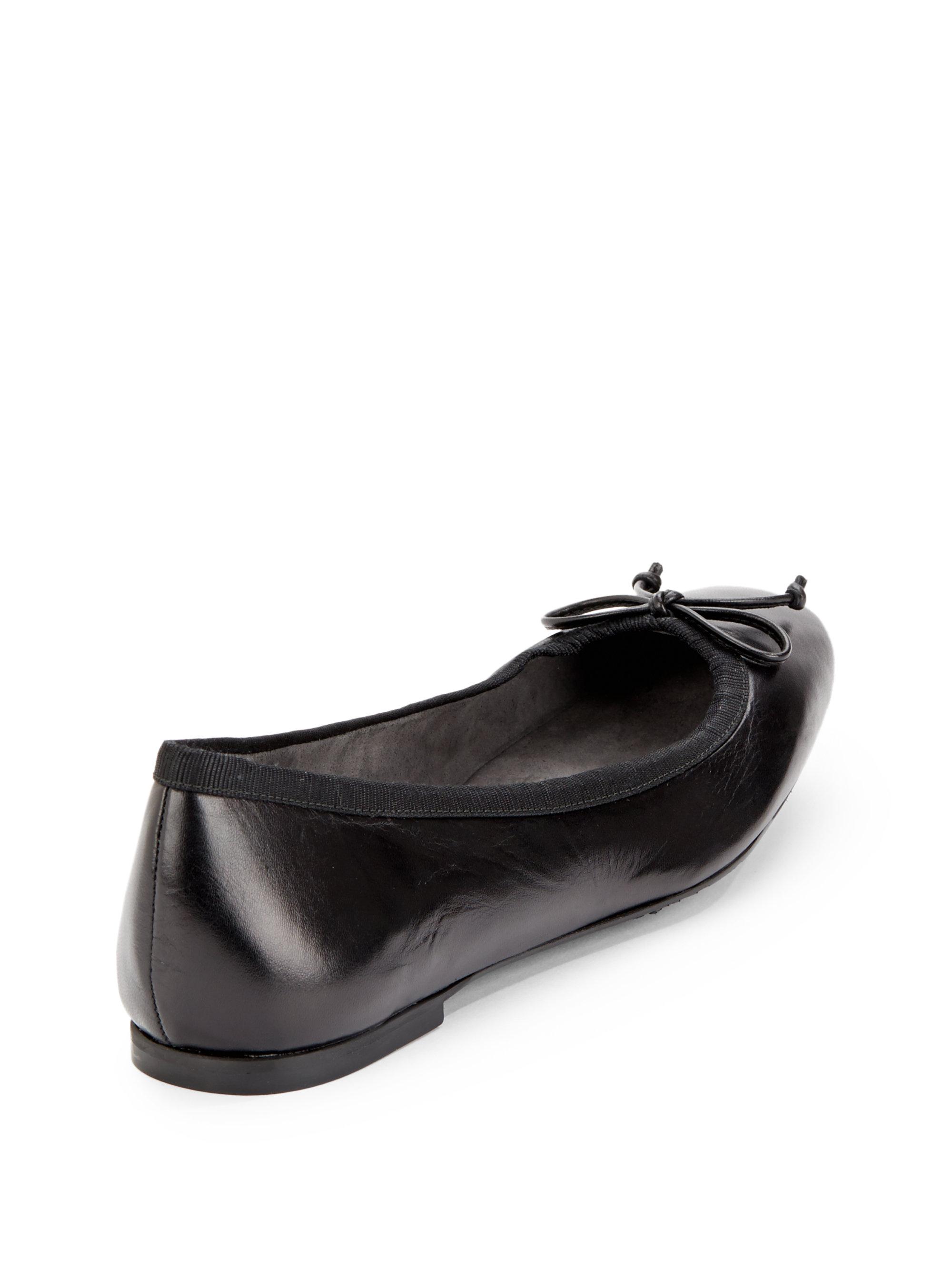 d2711183781 Lyst - Stuart Weitzman Shoestring Leather Ballet Flats in Black