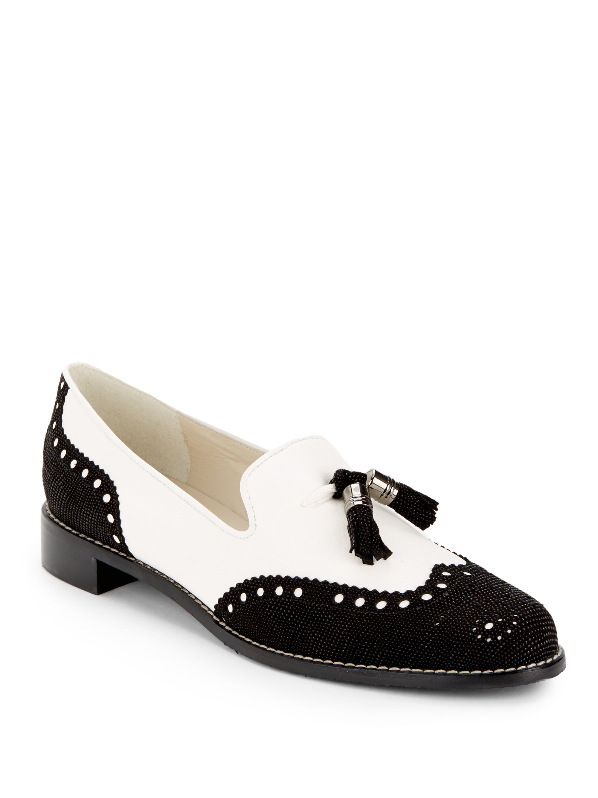 lyst stuart weitzman guything brogue loafers in white