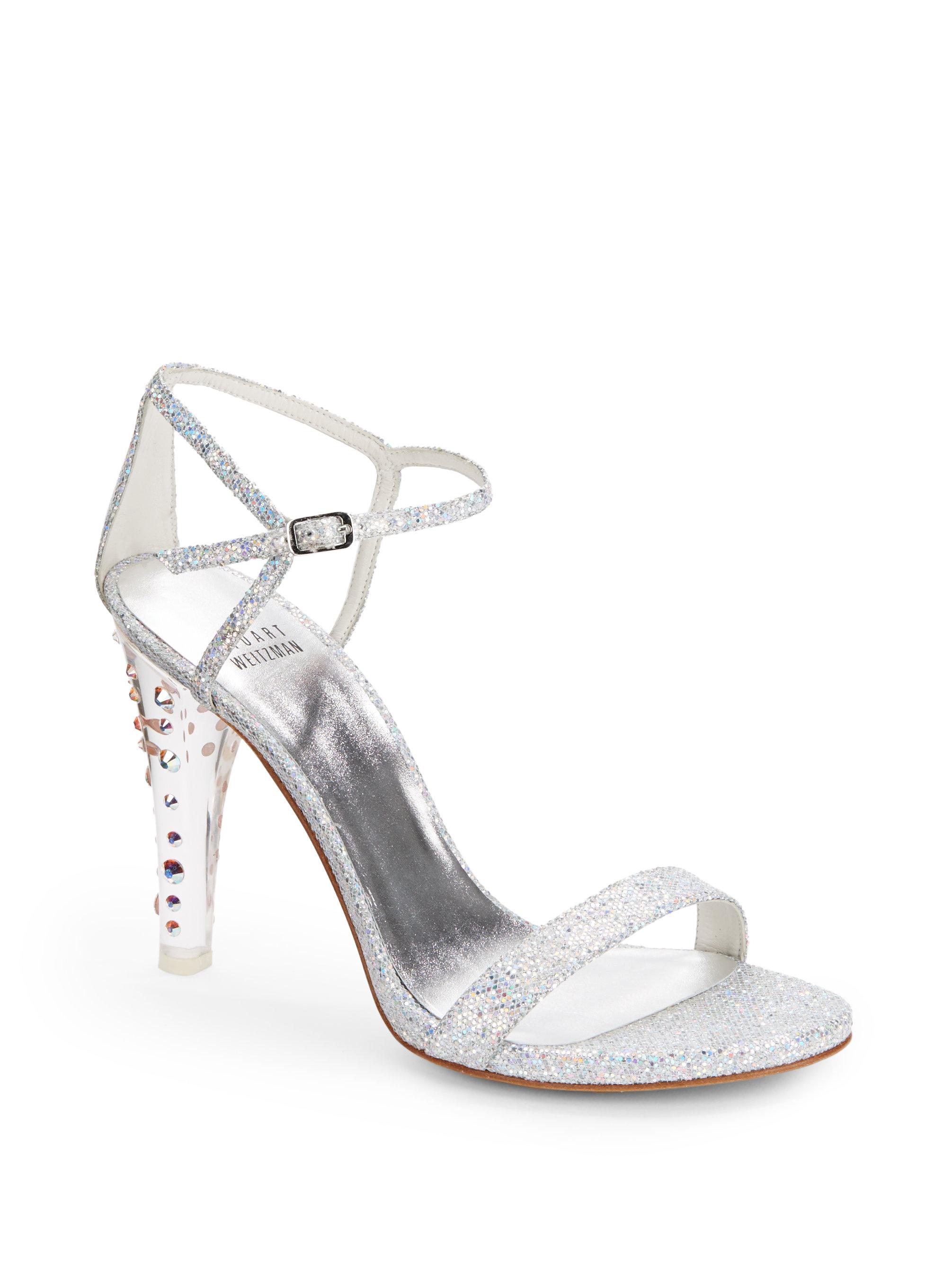 Stuart weitzman Glittony Glitter Strappy Heels Silver in Metallic ...