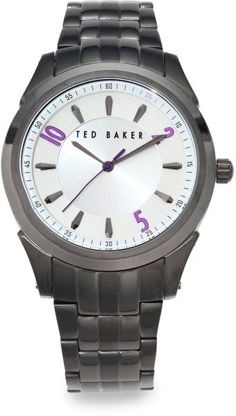 Ted Baker Gunmetal Stainless Steel Link Watch - Lyst