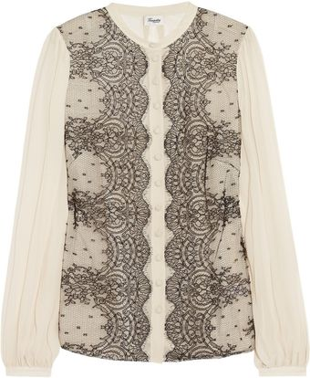 Temperley London Mia Lace and Silkchiffon Blouse - Lyst