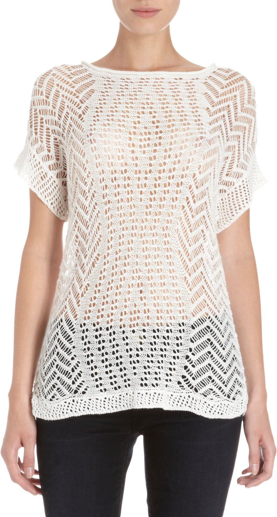 Free Crochet Pattern Short Sleeve Sweater : Thakoon Open Crochet Knit Short Sleeve Sweater in White Lyst